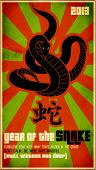 2013, Year of the Snake Poster - Chinese zodiac card with the snake coiling up and Chinese character for the year of snake, against the grunge red and green starburst background