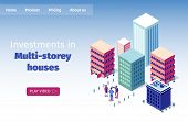 Banner Inscription Real Estate Agent Isometric. Selection Apartments Online. People Are Discussing P poster