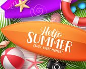 Hello Summer Vector Design Concept. Surfboard With Hello Summer Text And Colorful Beach Elements And poster