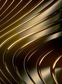Wave Band Surface. Golden Reflections On Dark Metallic Surface. Abstract Reflective Luxury Geometric poster