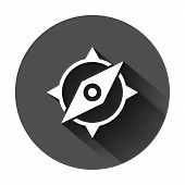 Global Navigation Icon In Flat Style. Compass Gps Vector Illustration On Black Round Background With poster