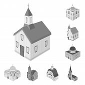 Vector Design Of Landmark And Clergy Logo. Collection Of Landmark And Religion Vector Icon For Stock poster