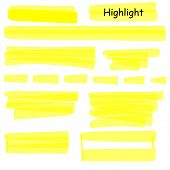 Hand Drawn Highlight Marker Lines Set. Highlighter Yellow Strokes Vector Isolated On White Backgroun poster