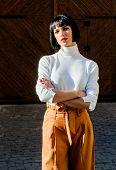 High Waisted Trousers Keep Returning To Catwalk. Fashion Girl. Femininity And Emphasize Feminine Fig poster