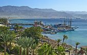 View on the Aqaba gulf (Red Sea) and the northern beach of Eilat, Israel