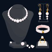 Pearl Jewerly Vector Collection - Necklace, Earrings, Ring And Bracelet. Jewelry Necklace, Ring And  poster
