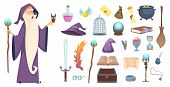 Magician Tools. Wizard Magic Mystery Broom Potion Witch Hat And Spell Book Vector Cartoon Pictures.  poster