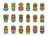Tiki Masks. Tribal Hawaii Totem African Traditional Wooden Symbols Vector Colored Mask Illustrations poster