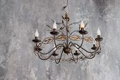 Luxurious Black Metal Chandelier Hanging On The Ceiling.contemporary Chandelier, Is A Branched Ornam poster