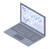 Genetic Info Laptop Icon. Isometric Of Genetic Info Laptop Vector Icon For Web Design Isolated On Wh poster