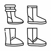 Ugg Boots Icons Set. Outline Set Of Ugg Boots Vector Icons For Web Design Isolated On White Backgrou poster