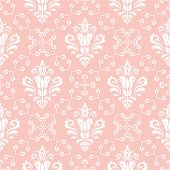 Classic Seamless Pattern. Damask Orient Ornament. Classic Vintage Light Pink And White Background poster