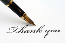 picture of thank you note  - Close up of pen on Thank you - JPG