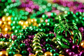 picture of mardi-gras  - Traditional colorful beads from the Mardis Gras season in New Orleans - JPG
