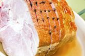 Spiral Cut Ham With Cloves Closeup