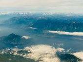 Aerial view of coast mountain ranges in BC Canada