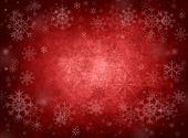 stock photo of snow border  - Ice red christmas background with snow and snowflakes - JPG