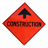 picture of road construction  - a isolated construction sign - JPG