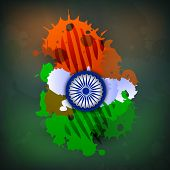 picture of asoka  - Indian Nation Flag colors background with Asoka wheel - JPG