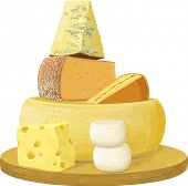Group of various cheese over white background. Each object is isolated and separated to layers. EPS8