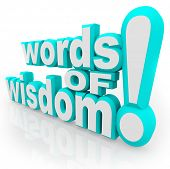 Words of Wisdom 3d words on white background symbolizing advice, information, communication, and sha