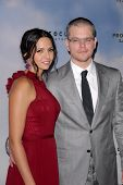 LOS ANGELES - DEC 6:  Luciana Baroso, Matt Damon arrive at the 'Promised Land' Premiere at Directors