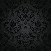 Luxury seamless black floral damask vintage wallpaper pattern