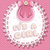 it`s a girl baby shower on bib