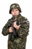 picture of m16  - Armed soldier pointing m16 in studio - JPG