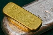 stock photo of oz  - Pure Gold and Silver Bullion Bars  - JPG