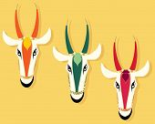 picture of jain  - an abstract illustration of three jain cow heads in different colors on a mustard coior background with space for text - JPG