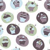 seamless retro fifties blue baby boy cupcake pattern