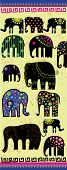 A Silhouette Of A Elephants With Pattern