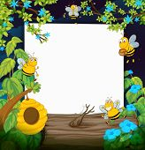 Illustration of bees and a white board in a beautiful nature