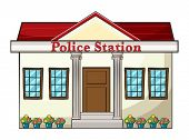 Illustration of a police station on a white background