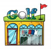 Illustration of Golf accessories store on white