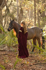 picture of bareback  - beautiful woman in medieval dress with horse in forest - JPG