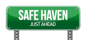 pic of safe haven  - Safe Haven Green Road Sign illustration design over white - JPG