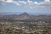 picture of piestewa  - Phoenix Arizona skyline looking to the northeast including Piestewa Peak - JPG