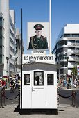 BERLIN, GERMANY - JULY 21, 2013: Checkpoint Charlie; the most famous Berlin crossing point between E