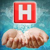 Hospital  Icon On Hand ,medical Background