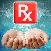 Prescription Icon On Hand ,medical Background