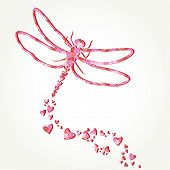 stock photo of decoupage  - Paper dragonfly decal with heart shapes fly path - JPG