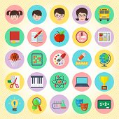 pic of physical education  - Set of 25 flat round school icons - JPG