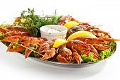 stock photo of tartar  - Boiled Crayfish with Lemon and Tartar Sauce - JPG