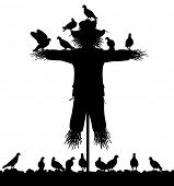 foto of scarecrow  - Editable vector silhouette of a flock of pigeons on a scarecrow with all figures as separate objects - JPG
