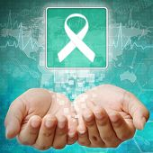 Aids Ribbon Symbol On Hand ,medical Background