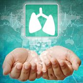 Lung Symbol On Hand ,medical Background