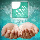 Sperm And Egg Symbol On Hand ,medical Background