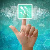 Hand Press Spermatozoon Icon On Medical Background